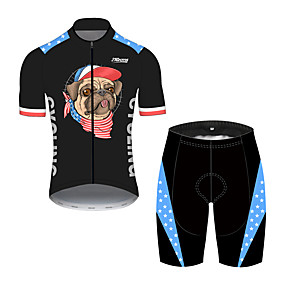 cheap Cycling & Motorcycling-21Grams Men's Short Sleeve Cycling Jersey with Shorts Summer Spandex Polyester Black / Blue Dog American / USA National Flag Bike Clothing Suit UV Resistant Quick Dry Breathable Back Pocket Sweat
