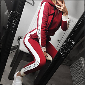 cheap Running & Jogging-Women's 2 Piece Full Zip Tracksuit Sweatsuit Jogging Suit Street Casual Long Sleeve Elastane Moisture Wicking Quick Dry Breathable Running Active Training Jogging Sportswear Solid Colored Black Red