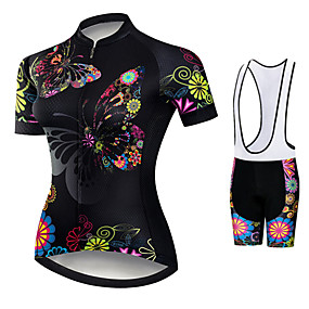 cheap Cycling & Motorcycling-21Grams Women's Short Sleeve Cycling Jersey with Bib Shorts Summer Spandex Polyester Black / Red Butterfly Floral Botanical Bike Clothing Suit 3D Pad Ultraviolet Resistant Quick Dry Breathable Back