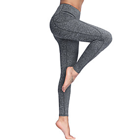 cheap Yoga & Fitness-Women's High Waist Yoga Pants Side Pockets Leggings Butt Lift 4 Way Stretch Breathable Black Gray Non See-through Gym Workout Running Fitness Sports Activewear Stretchy / Moisture Wicking / Quick Dry