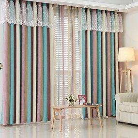 cheap Curtains & Drapes-Two Panel Modern Minimalist Style Living Room Bedroom Dining Room Children's Room Chenille Striped Jacquard Curtains