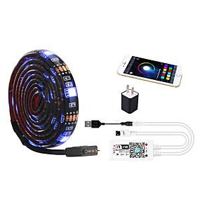 cheap WiFi Control-1m WIFI Control Kit Flexible LED Light Strips Light Sets RGB Tiktok Lights TV Background Lights 30 LEDs SMD5050 10mm 1 set Multi Color Waterproof APP Control USB US EU 5 V
