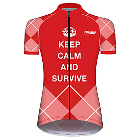 cheap Cycling & Motorcycling-21Grams Women's Short Sleeve Cycling Jersey Summer Spandex Polyester Pink Plaid Checkered Solid Color Novelty Bike Jersey Top Mountain Bike MTB Road Bike Cycling UV Resistant Quick Dry Breathable