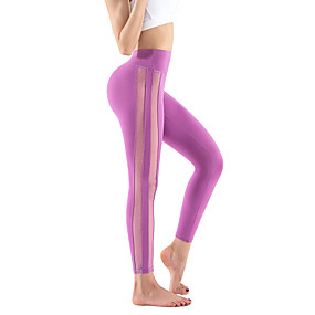 cheap Running & Jogging-TRYSIL Women's High Waist Running Tights Leggings Compression Pants Athletic Capris Bottoms Mesh Nylon Mesh Spandex Winter Fitness Gym Workout Running Training Butt Lift Breathable Quick Dry Sport