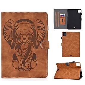cheap iPad case-Case For Apple iPad Air/iPad Mini 3/2/1/4/5 Card Holder / Embossed / Pattern Full Body Cases Solid Colored / Animal PU Leather For iPad Air 10.5 2019/iPad 10.2/Pro 11 2020/iPad 2017/iPad 2018