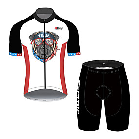 cheap Cycling & Motorcycling-21Grams Men's Short Sleeve Cycling Jersey with Shorts Summer Spandex Polyester Black+White Dog American / USA National Flag Bike Clothing Suit UV Resistant Quick Dry Breathable Back Pocket Sweat