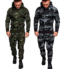 cheap Running & Jogging-Men's 2 Piece Tracksuit Sweatsuit Jogging Suit Street Casual Long Sleeve Thermal Warm Moisture Wicking Breathable Fitness Running Active Training Jogging Sportswear Hoodie Dark Grey Black Army Green