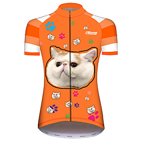 cheap Cycling & Motorcycling-21Grams Women's Short Sleeve Cycling Jersey Summer Spandex Polyester Orange+White Cat Funny Animal Bike Jersey Top Mountain Bike MTB Road Bike Cycling UV Resistant Quick Dry Breathable Sports
