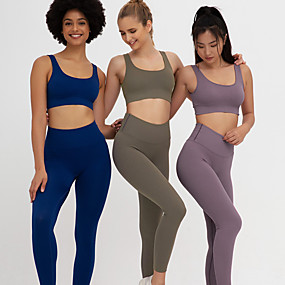 cheap Yoga & Fitness-Women's 2pcs Yoga Suit Seamless Solid Color Purple Dark Purple Brown Nylon Fitness Gym Workout Running High Waist Sports Bra Cropped Leggings Sport Activewear Tummy Control Butt Lift Quick Dry High