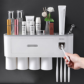 cheap Bathroom Gadgets-Toothbrush rack storage box Toilet hole-free wall-mounted mouthwash cups