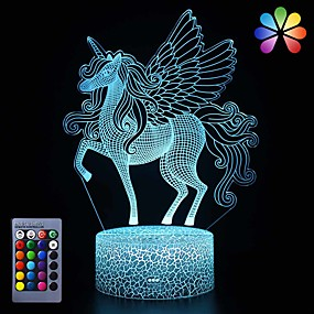 cheap 3D Night Lights-Unicorn Night Light for KidsDimmable LED Nightlight Bedside Lamp16 Colors7 Colors ChangingTouch&Remote ControlBest Unicorn Toys Birthday Christmas Gifts for Girls Boys (Unicorn)