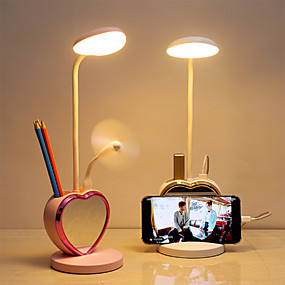 cheap Stay at Home-Deak Lamp Table Lamp with USB Port Small Mirror Mini Fan Dimmable Eye Protection Heart Shape Rechargeable Built-in Li-Battery Powered USB Powered ABS DC 5V Light Pink/ White