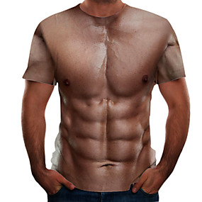 cheap Athleisure Wear-Men's T shirt Color Block 3D Simulation Plus Size Print Short Sleeve Daily Tops Basic Streetwear Brown