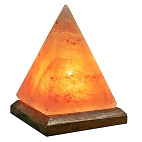 cheap LED Smart Home-Pyramid LED Himalayan air purifying Salt Lamp Night Light Stylish Wood Base Creative USB 1pc