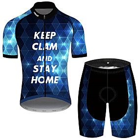 cheap Cycling & Motorcycling-21Grams Men's Short Sleeve Cycling Jersey with Shorts Summer Spandex Polyester Black / Blue Plaid Checkered Geometic Novelty Bike Clothing Suit UV Resistant Quick Dry Breathable Back Pocket Sweat