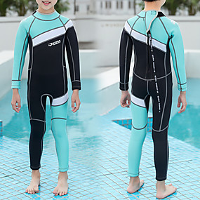 cheap Kid's-HISEA® Boys' Girls' Full Wetsuit 2.5mm SCR Neoprene Diving Suit Thermal Warm Quick Dry Stretchy Long Sleeve Back Zip - Swimming Diving Surfing Scuba Patchwork Autumn / Fall Spring Summer / Kids