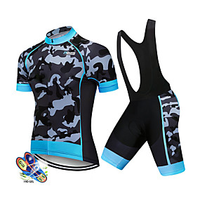 cheap Cycling & Motorcycling-21Grams Men's Short Sleeve Cycling Jersey with Bib Shorts Summer Spandex Polyester White Black Patchwork Solid Color Camo / Camouflage Bike Clothing Suit UV Resistant 3D Pad Quick Dry Breathable Back