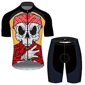 cheap Cycling & Motorcycling-21Grams Men's Short Sleeve Cycling Jersey with Shorts Summer Black / Red Plaid Checkered Sugar Skull Skull Bike Clothing Suit UV Resistant 3D Pad Quick Dry Breathable Reflective Strips Sports Plaid