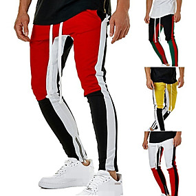 cheap Running & Jogging-Men's Sweatpants Joggers Track Pants Sports & Outdoor Athleisure Wear Bottoms Side-Stripe Drawstring Pocket Cotton Winter Running Jogging Training Moisture Wicking Breathable Soft Sport Yellow
