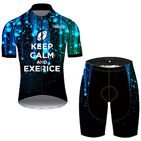 cheap Cycling & Motorcycling-21Grams Men's Short Sleeve Cycling Jersey with Shorts Summer Spandex Polyester Black / Blue Galaxy Gradient Novelty Bike Clothing Suit UV Resistant Quick Dry Breathable Back Pocket Sweat wicking