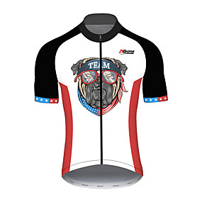 cheap Cycling & Motorcycling-21Grams Men's Short Sleeve Cycling Jersey Summer Spandex Polyester Black+White Dog American / USA National Flag Bike Jersey Top Mountain Bike MTB Road Bike Cycling UV Resistant Quick Dry Breathable