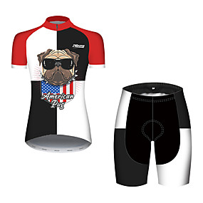 cheap Cycling & Motorcycling-21Grams Women's Short Sleeve Cycling Jersey with Shorts Summer Spandex Polyester Black / Red Dog American / USA USA Bike Clothing Suit Ultraviolet Resistant Quick Dry Breathable Back Pocket Sweat