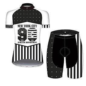 cheap Cycling & Motorcycling-21Grams Women's Short Sleeve Cycling Jersey with Shorts Summer Spandex Polyester Black+White American / USA Stars USA Bike Clothing Suit Ultraviolet Resistant Quick Dry Breathable Back Pocket Sweat
