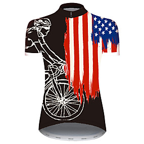 cheap Cycling & Motorcycling-21Grams Women's Short Sleeve Cycling Jersey Summer Spandex Polyester Black / Red American / USA USA National Flag Bike Jersey Top Mountain Bike MTB Road Bike Cycling UV Resistant Quick Dry Breathable