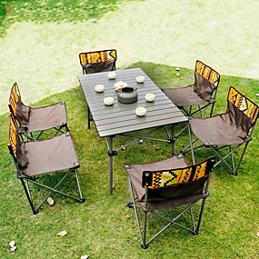 cheap Garden Tools-Male Wolf Outdoor Folding Table And Chair Set Portable Picnic Table 7-piece Wild Self-driving Leisure Table And Chair