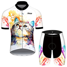 cheap Cycling & Motorcycling-21Grams Men's Short Sleeve Cycling Jersey with Shorts Summer Spandex Polyester Black+White Cat Tie Dye Animal Bike Clothing Suit UV Resistant 3D Pad Quick Dry Breathable Back Pocket Sports Cat