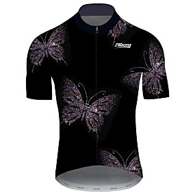 cheap Cycling & Motorcycling-21Grams Men's Short Sleeve Cycling Jersey Summer Black+White Butterfly Solid Color Bike Jersey Top Mountain Bike MTB Road Bike Cycling UV Resistant Quick Dry Breathable Sports Clothing Apparel
