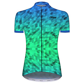 cheap Cycling & Motorcycling-21Grams Women's Short Sleeve Cycling Jersey Summer Spandex Polyester Green Plaid Checkered Solid Color Geometic Bike Jersey Top Mountain Bike MTB Road Bike Cycling UV Resistant Quick Dry Breathable