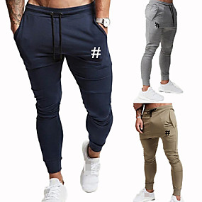 cheap Exercise, Fitness & Yoga-Men's Sweatpants Joggers Jogger Pants Track Pants Sports & Outdoor Athleisure Wear Bottoms Drawstring Cotton Winter Running Jogging Training Breathable Moisture Wicking Soft Sport Solid Colored Black