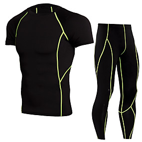 cheap Running & Jogging-JACK CORDEE Men's 2 Piece Activewear Set Workout Outfits Compression Suit Athletic Athleisure Short Sleeve Thermal Warm Moisture Wicking Breathable Gym Workout Running Active Training Jogging