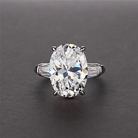 billige Engagement-5 karat Syntetisk Diamant Ring Plastik Guldbelagt Til Dame Ovalt snit Damer Luksus Elegant Brude Bryllup Fest & Aften Forlovelse Høj kvalitet 3 sten