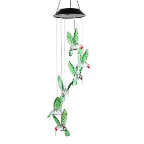 billige Soldrevne LED-lamper-ledet solvindklokk utendørs fargeskiftende vanntett solcelledrevet hengelampe for utendørs hage festival dekorasjon