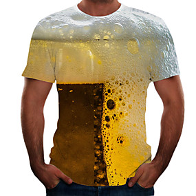 cheap Athleisure Wear-Men's T shirt Graphic 3D Beer Plus Size Short Sleeve Going out Tops Basic Yellow