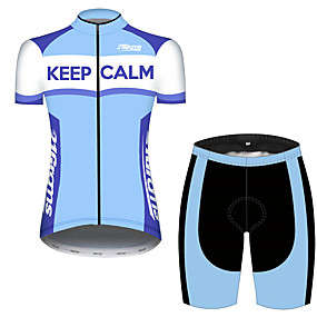 cheap Cycling & Motorcycling-21Grams Women's Short Sleeve Cycling Jersey with Shorts Summer Spandex Polyester Blue+White Stripes Novelty Crown Bike Clothing Suit Ultraviolet Resistant Quick Dry Breathable Back Pocket Sweat