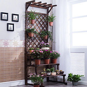 cheap Patio-Antiseptic Wood Folding Flower Stand Solid Wood Multi-layer Flower Stand Balcony Indoor Fleshy Flower Stand Floor Shelf Wooden