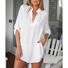 Недорогие Распродажа-Жен. Повседневные Большие размеры Блуза Рубашка Однотонный Рукав до локтя Верхушки Шифон Классический V-образный вырез Белый Черный Синий