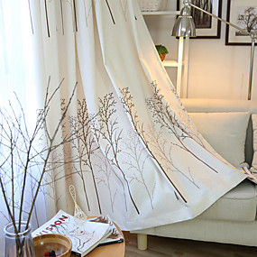 cheap Curtains & Drapes-Two Panel American Country Style Linen Cotton Tree Print Curtains