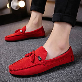cheap Shoes & Bags-Men's Suede Spring & Summer / Fall & Winter Classic / British Loafers & Slip-Ons Walking Shoes Breathable Red / Black