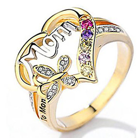cheap Anniversary-Women's Ring Belle Ring AAA Cubic Zirconia 1pc Yellow Copper Silver-Plated Irregular Statement Luxury Party Evening Gift Jewelry Geometrical Heart Wearable