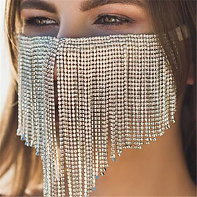 cheap Accessories-Alloy Face Chain Crystal / Rhinestone Style Decoration Half Face For Party Evening Holiday Luxury Boho Silver Golden / Women's