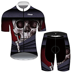cheap Cycling & Motorcycling-21Grams Men's Short Sleeve Cycling Jersey with Shorts Summer Black / Red Sugar Skull Solid Color Novelty Bike Clothing Suit UV Resistant 3D Pad Quick Dry Breathable Reflective Strips Sports Sugar