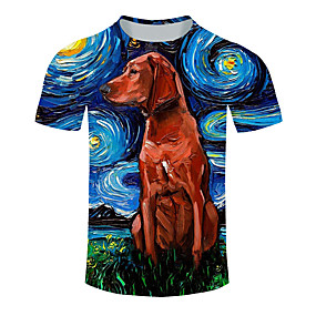 cheap Running & Jogging-Men's Short Sleeve Running Shirt Tee Tshirt Top Summer Cotton Moisture Wicking Quick Dry Breathable Gym Workout Running Active Training Jogging Sportswear Dog Plus Size Blue Activewear Micro-elastic