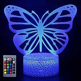 billige Dekorasjonslys-sommerfugl 3d led nattlyslamper optisk illusjonslampe 16 farger touch xmas dekorasjon belysning bord skrivebord visuell lampe til hjemmet dekorasjon og kiddie barn barn familieferie gaver (sommerfugl)