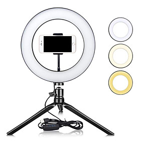 "ieftine Lumini Interior-zdm 10 ""dimmable led inel lumina tiktok youtube video autodeclanșator umplere lumină usb led lampade de masă pentru fotografie machiaj frumusețe umple lumini usb"