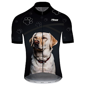 cheap Cycling & Motorcycling-21Grams Men's Short Sleeve Cycling Jersey Summer Spandex Polyester Black+White Dog Funny Animal Bike Jersey Top Mountain Bike MTB Road Bike Cycling UV Resistant Quick Dry Breathable Sports Clothing