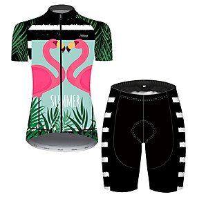 cheap Cycling & Motorcycling-21Grams Women's Short Sleeve Cycling Jersey with Shorts Summer Pink+Green Stripes Flamingo Floral Botanical Bike Clothing Suit 3D Pad Ultraviolet Resistant Quick Dry Breathable Reflective Strips